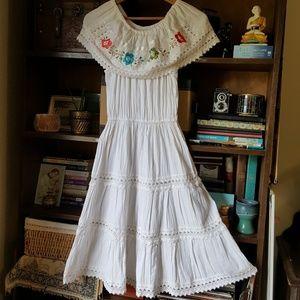 Mexican gauze dress embroidered fiesta dress